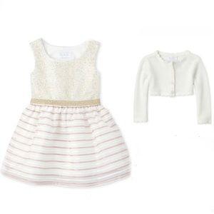 NWT • Children's Place Striped Dress + Cardigan